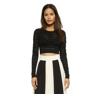 Ronny Kobo Black Olive Knit Long Sleeve Crop Top